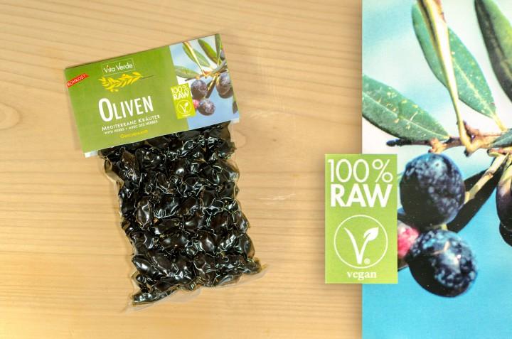 Oliven Mediterrane Kräuter 100% Rohkost 200g